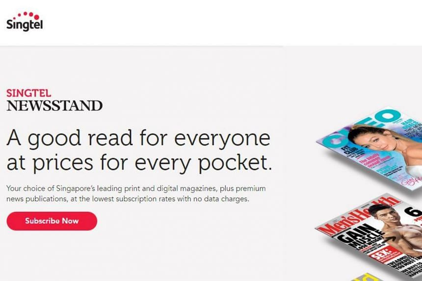 Singtel Newsstand offers digital and print subscriptions to a variety of local and international publications with no local data charges.