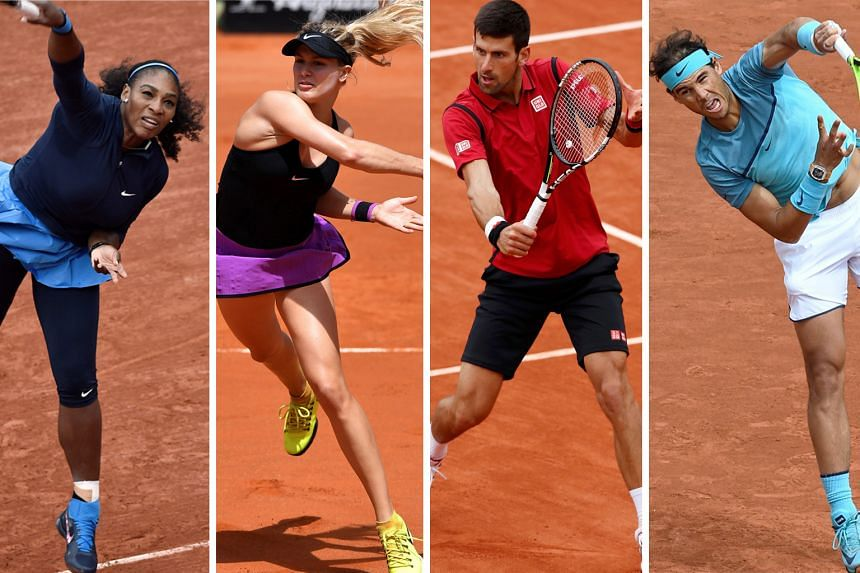Stylish looks on the tennis court: (from left) American Serena Williams, Canadian Eugenie Bouchard, Novak Djokovic of Serbia and Rafael Nada of Spain.