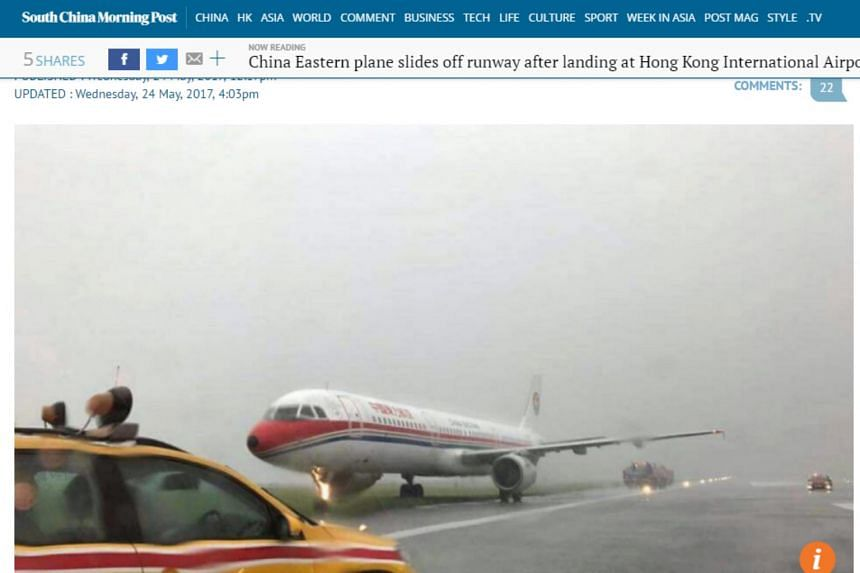 Heavy rain led to a China Eastern Airlines flight skidding off the runway at Hong Kong airport on May 24, 2017.