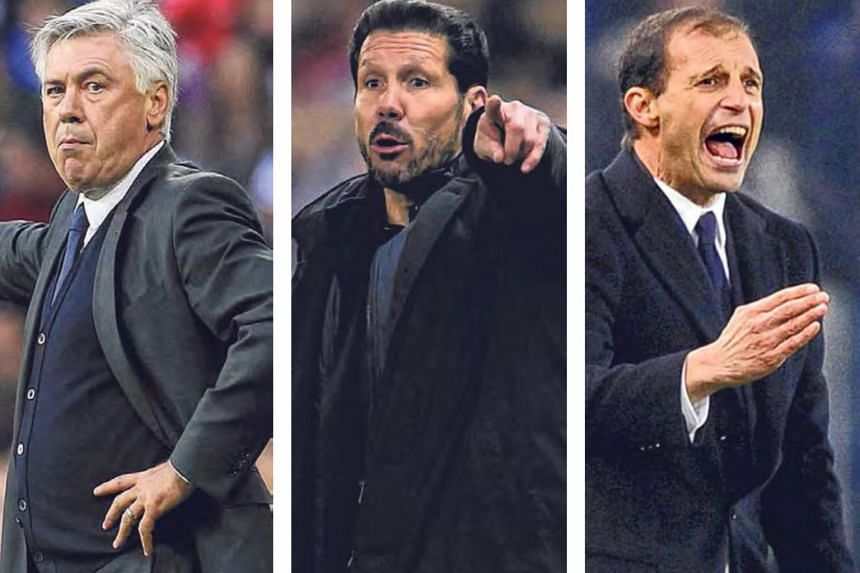 Carlo Ancelotti (left) has already been pencilled in to replace Pep Guardiola at Bayern Munich at the end of the season while Atletico Madrid's Diego Simeone (centre) and Juventus' Massimiliano Allegri could receive offers from top clubs desperat