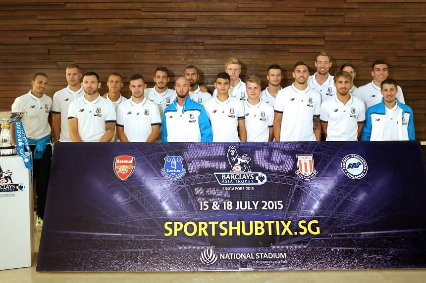 English Premier League side Stoke City arrived in Singapore on Thursday, ahead of their participation in the Barclays Asia Trophy tournament on July 15 and 18.