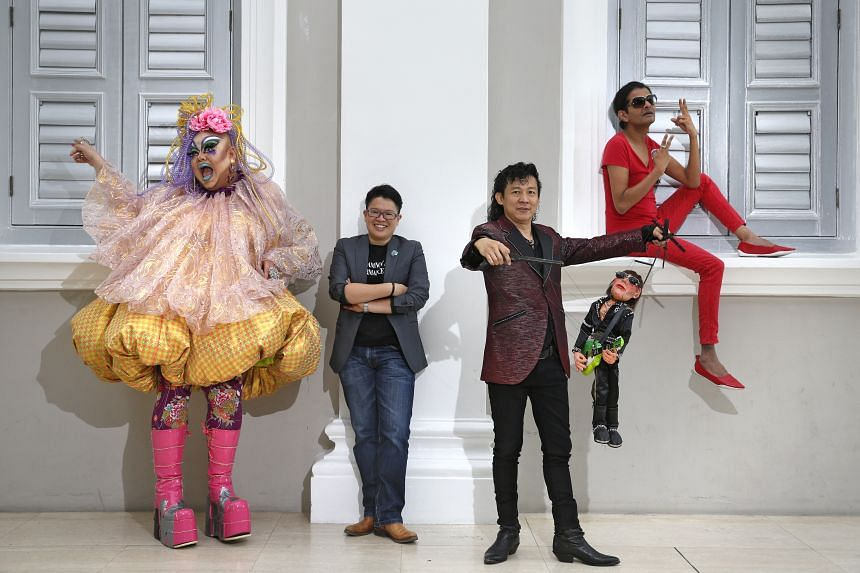 (Left to right) Drag artist Becca D'Bus, Night Festival creative director Christie Chua, puppet artist Frankie Malachi with his puppet Jett Black, and comedian Kumar