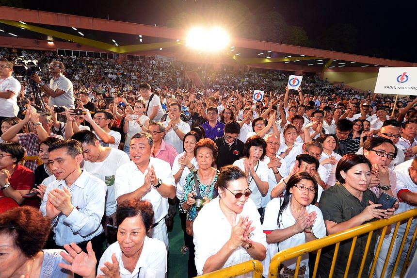 Supporters at the People's Action Party's first rally in Tiong Bahru on Sept 2, 2015.