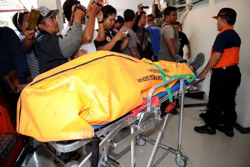 The body of Amokrane Sabet arrives at Sanglah hospital in Denpasar, on Bali island, on May 2, 2016.
