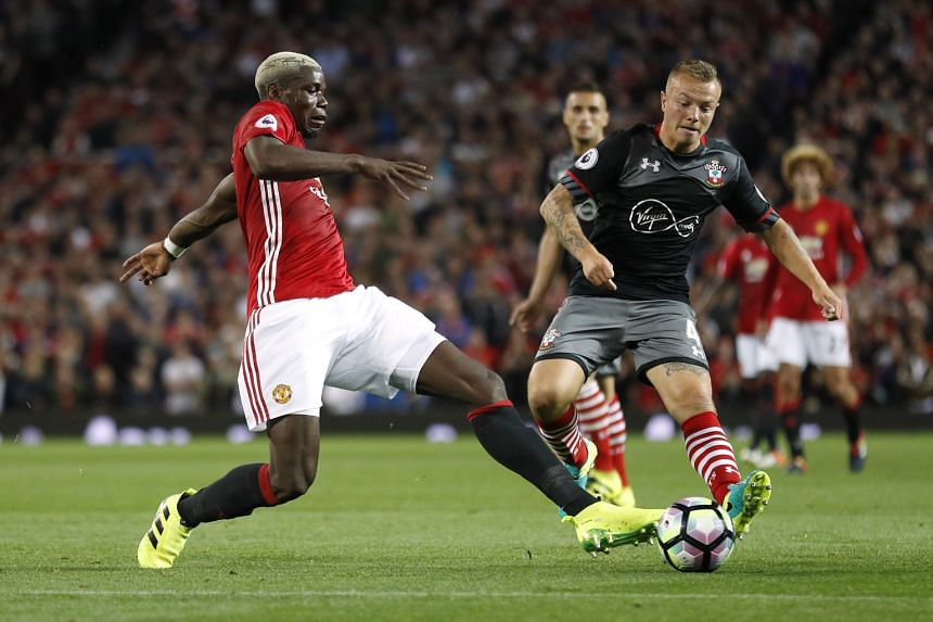 Manchester United's Paul Pogba (left) tackling Jordy Clasie of Southampton during the 2-0 Premier League home win at Old Trafford.