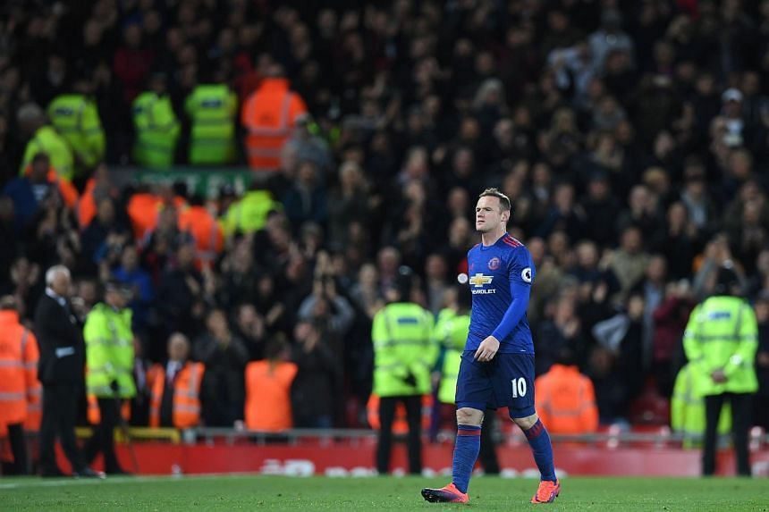 Manchester United's Wayne Rooney walking off the field after the match against Liverpool on Oct 17, 2016.