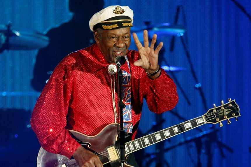 Rock and roll legend Chuck Berry performs during the Bal de la Rose in Monte Carlo, Monaco on March 28, 2009.