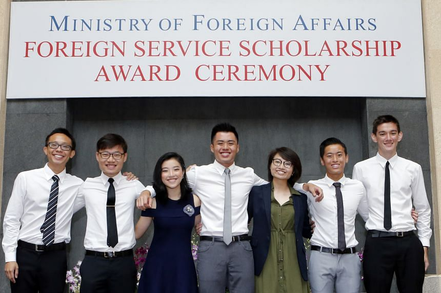 (From left) Mr Seow Wei Liang, Mr Mock Yi Jun, Ms Valerie Lim Xuan, Mr Chan Wei Jin, Ms Gwyneth Lee Yi Xin, Mr Roystan Ang Jun Teck and Mr Kean Patrick Murphy were awarded the Foreign Service Scholarship by the Ministry of Foreign Affairs on Aug 19.