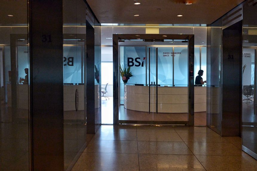 The entrance of the BSI Bank main office at Suntec City Tower One.