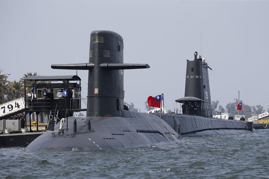 Taiwan navy submarines SS-794 (front) and SS-792 (back) are docked during the visit of Taiwan president Tsai Ing-wen.