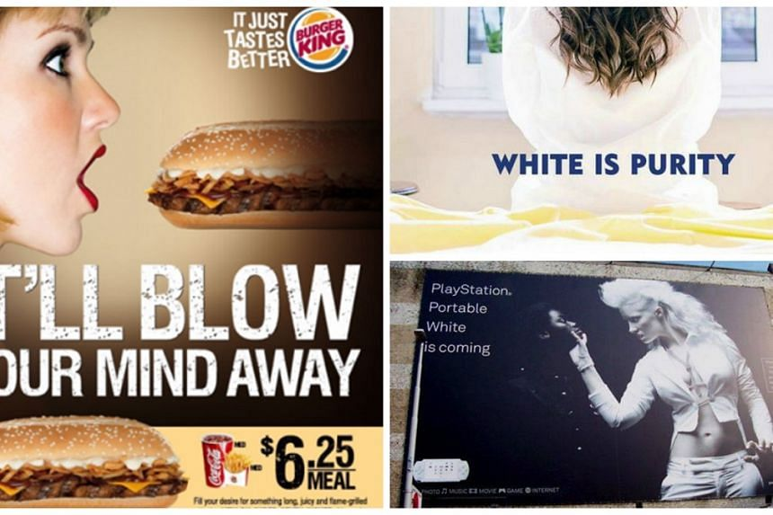 """(Clockwise from left) Burger King's sexually suggestive ad, Nivea's Middle East """"racist"""" White Is Purity ad, and PlayStation's """"racist"""" PlayStation Portable White ad."""