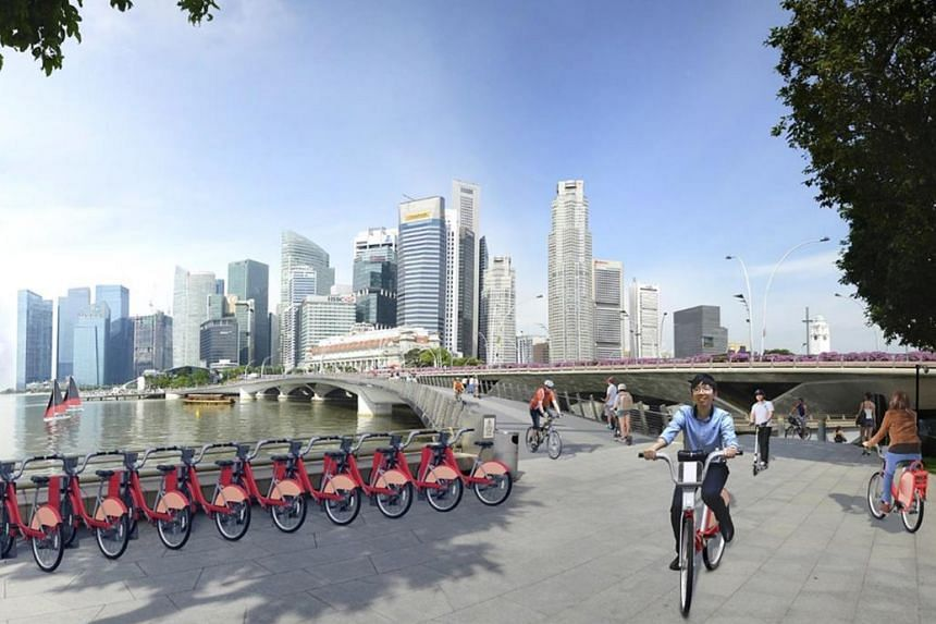 An artist's impression of the proposed bicycle-sharing infrastructure in Marina Bay/City Centre.