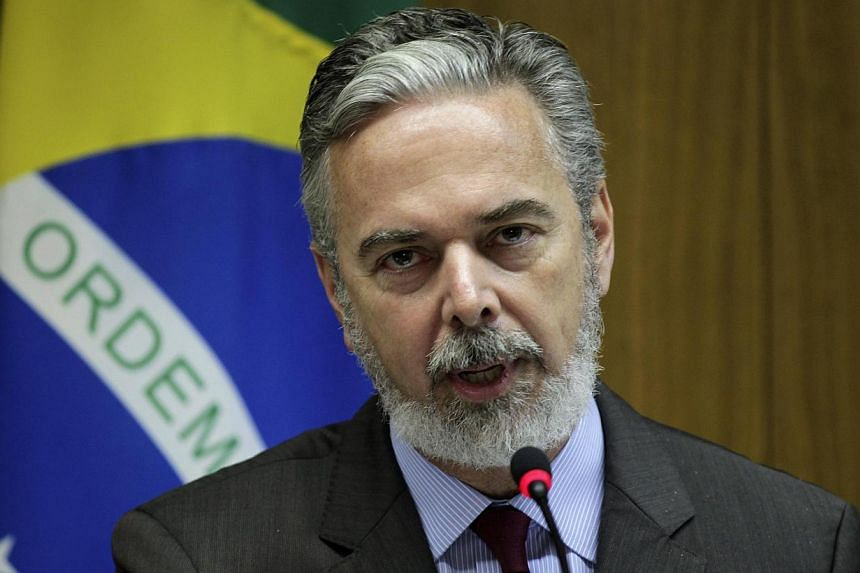 """Brazil's Foreign Minister Antonio Patriota speaks during news conference after a meeting with Uruguay's Foreign Minister Luis Almagro (not seen) at the Itamaraty Palace in Brasilia July 9, 2013.""""We will not grant asylum,"""" to the US fugitive, Fo"""