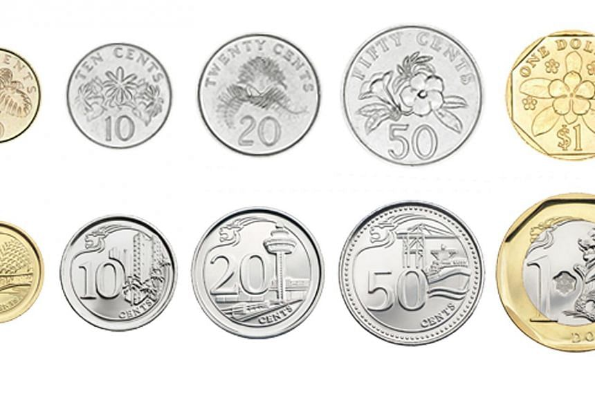 Singapore's second series of coins (top row) versus the third series of coins (bottom row). -- PHOTO: MONETARY AUTHORITY OF SINGAPORE