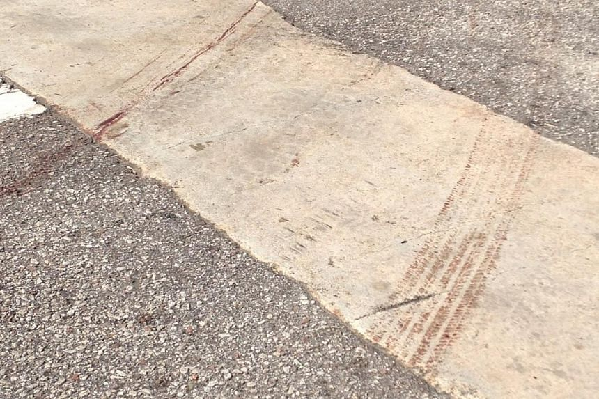 Blood streaks were still visible on the road outside the house in Hillside Drive on Thursday morning. A man in his 40s was seen being dragged by a car from Hillside Drive to the Kovan MRT station 1km away on Wednesday afternoon. -- ST PHOTO: JAMIE KO