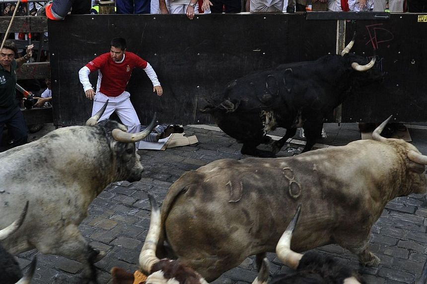 A participant runs past Torrestrella's bulls during the fifth bull run of the San Fermin Festival in Pamplona, northern Spain, on July 11, 2013. Two men fell and were injured on Thursday, including an American who broke his ankle, on the fifth day of