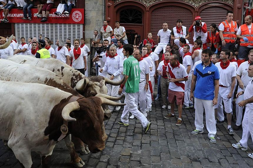 Participants watch the leading steers of Torrestrella during the fifth bull run of the San Fermin Festival in Pamplona, northern Spain, on July 11, 2013.Two men fell and were injured on Thursday, including an American who broke his ankle, on th