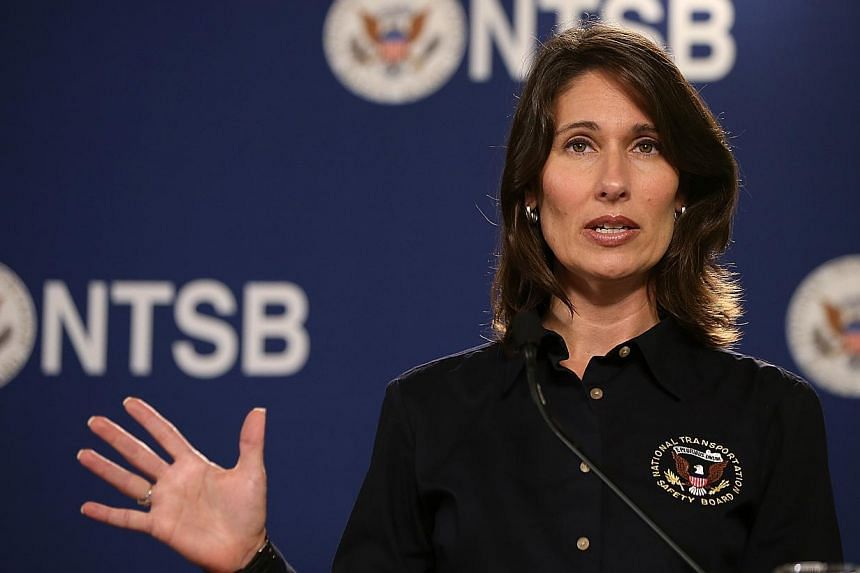 National Transportation Safety Board (NTSB) Chairwoman Deborah Hersman arrives at a news conference on July 11, 2013 in South San Francisco, California. The National Transportation Safety Board apologised on Friday after an intern mistakenly con
