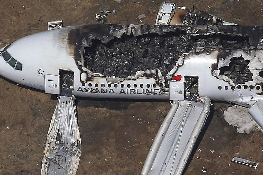 An Asiana Airlines Boeing 777 plane is seen after it crashed while landing at San Francisco International Airport in California, in this file aerial view taken on July 6, 2013. -- FILE PHOTO: REUTERS