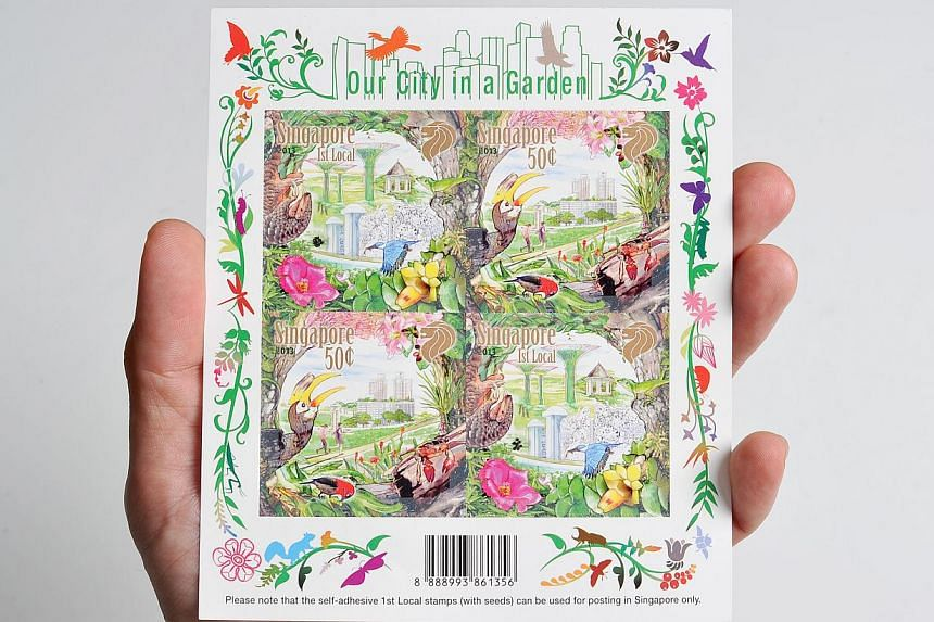 The four designs in this stamp issue portray Singapore's vibrant urban landscape nestled within a thriving garden with native plants and wildlife. To commemorate 50 years of greening Singapore, the stamps come in biodegradable paper with the local st