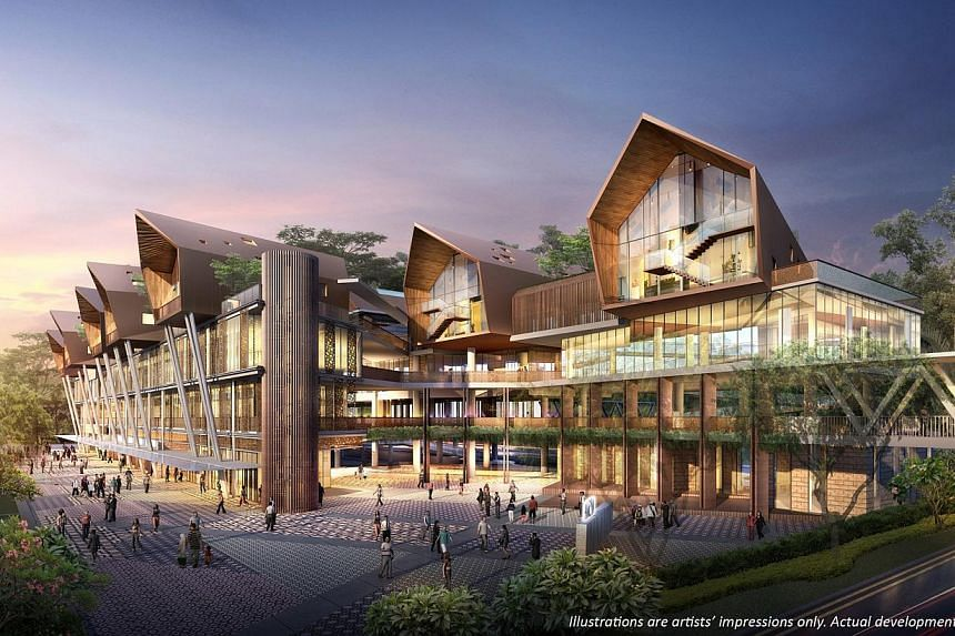 An artist's impression of the winning design for Wisma Geylang Serai is shown on Saturday, July 13, 2013. Geylang Serai's new civic centre will have both traditional elements like a double-pitched roof and ketupat-inspired features, and contemporary