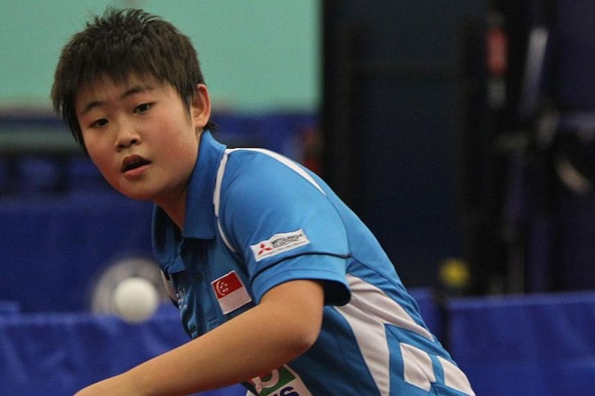 The Under-18 girls' team, consisting of Lin Ye (above), Lim Yixuan, Yee Herng Hwee and Cheryl Tang, beat Thailand 3-1 in the finals of theSouth-east Asian Junior Table Tennis Championships to secure gold. -- FILE PHOTO: STTA