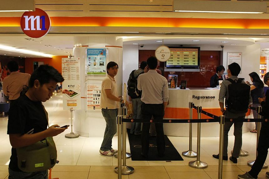 Mobile operator M1 posted a 11.2 per cent rise in second-quarter net profit to $39.2 million, driven by an increase in subscribers and mobile data revenue. -- ST FILE PHOTO