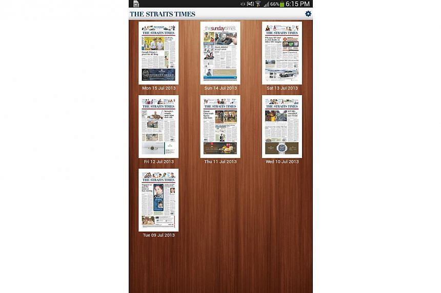 A screenshot of The Straits Times' new Android tablet app, which launches on Thursday, July 18, 2013. Android tablet users wanting to get the latest breaking news from The Straits Times during their long-morning commutes now have reason to cheer. --