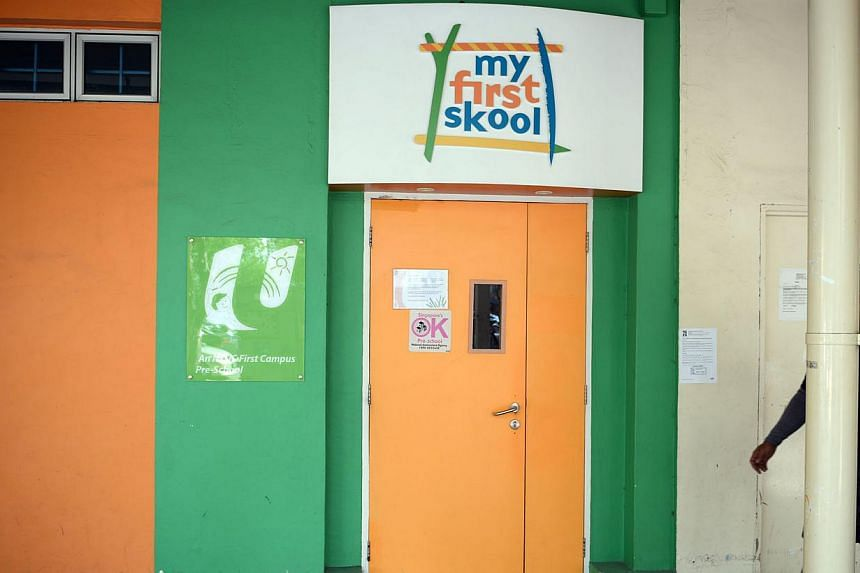 Facade of NTUC My First Skool branch in Toa Payoh, where a part-time teacher allegedly abused a three-year-old boy.  The licence tenure for this My First Skool branch has been reduced from 24 months to six months. -- ST FILE PHOTO: NADARAJAN RAJ
