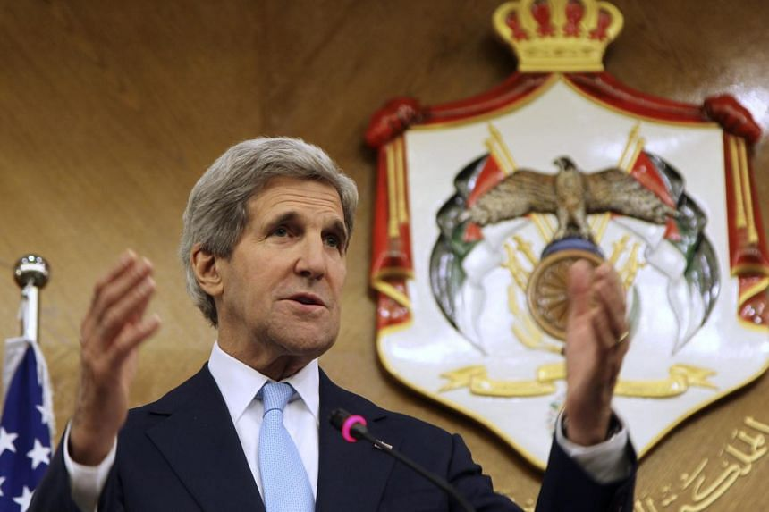 United States Secretary of State John Kerry speaks during a joint news conference with Jordan's Foreign Minister Nasser Judeh (not in picture) at the Ministry of Foreign Affairs in Amman on July 17, 2013. Mr Kerry said on Wednesday that it was too ea