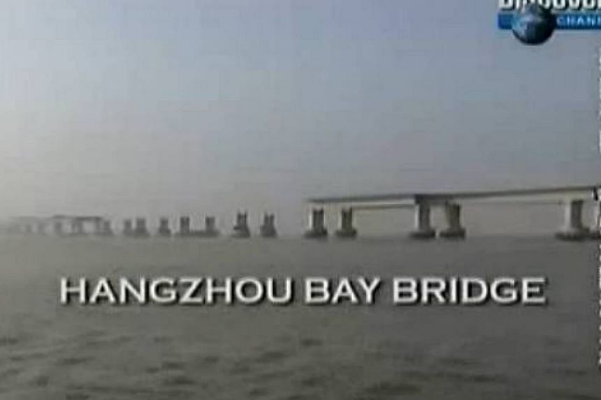 The world's longest and broadest multipylon cable-stayed bridge, linking Shanghai to Shaoxing city in eastern China's Zhejiang province, will be open to traffic tomorrow. -- PHOTO: SCREENGRAB FROM YOUTUBE