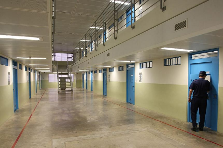Interior of Changi Prison Complex's Cluster B: There were 61 cases of assault within the prison walls last year, 21 of which were attacks on prison staff by inmates. -- BH FILE PHOTO: TUKIMAN WARJI