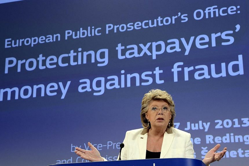 EU justice, fundamental rights and citizenship commissioner Viviane Reding gives a press conference on Wednesday, July 17, 2013, on protecting taxpayers' money against fraud at the EU headquarters in Brussels. Ms Reding said on Friday, July 19, 2013,