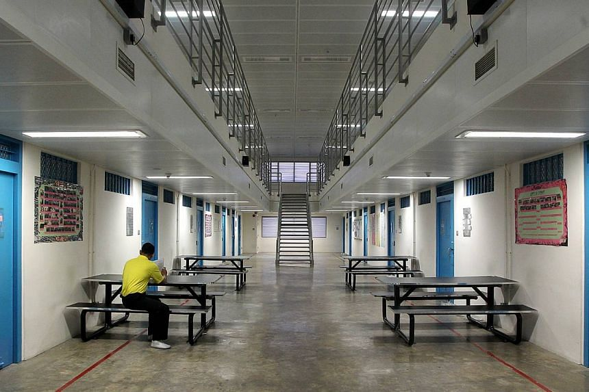 Interior of Changi Prison:A senior prison officer has been charged with causing the death of an inmate by a negligent act not amounting to culpable homicide. -- BH FILE PHOTO: TUKIMAN WARJI