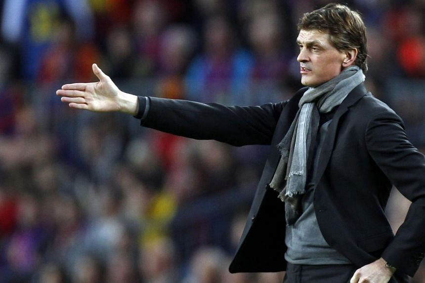Barcelona's coach Tito Vilanova gestures during the Champions League semi-final second leg soccer match against Bayern Munich at Camp Nou stadium in Barcelona on May 1, 2013. Barcelona's preparations for next season were thrown off course on Friday w