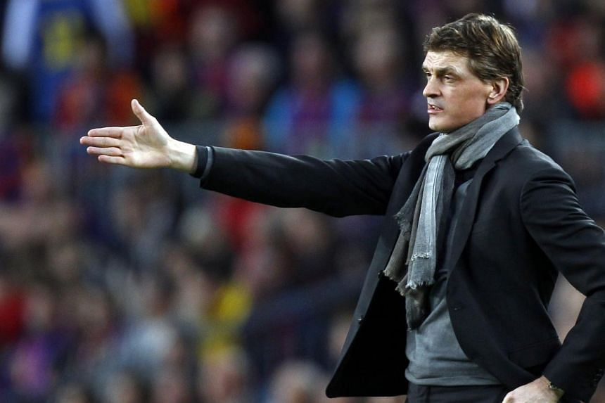 Barcelona's coach Tito Vilanova gestures during the Champions League semi-final second leg soccer match against Bayern Munich at Camp Nou stadium in Barcelona on Wednesday, May 1, 2013. Barcelona were mourning the enforced exit of Vilanova on Saturda