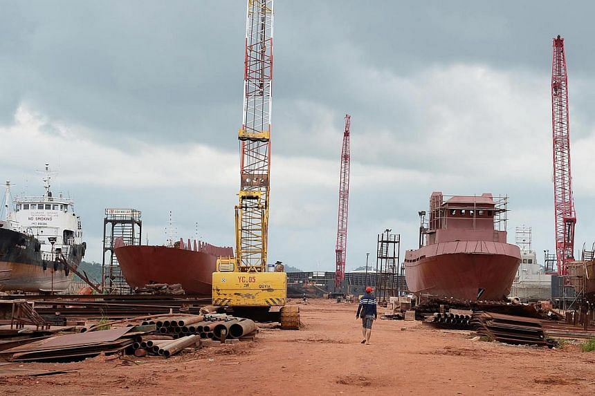The Indonesian shipyard where the dramatic robbery occurred last Sunday. The barge and the tugboat that were stolen were at the centre of payment disputes between BH Marine, which owns the shipyard, and its client PT Andalan.