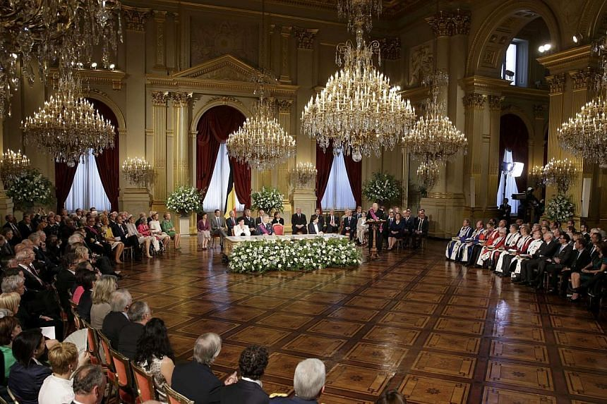 King Albert II of Belgium delivers an abdication speech during a ceremony at the Royal Palace on Belgian National Day in Brussels on Sunday, July 21, 2013. Albert II abdicated on Sunday after 20 years as 'King of the Belgians'in favour of his s
