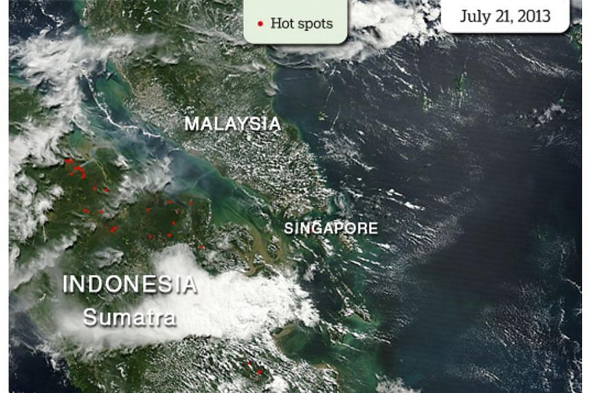 This Nasa satellite image shows the number of hotspots in Indonesia's Sumatra on July 21. Singapore has registered its concern with the Indonesian government over the rising number of fire hot spots in Sumatra, most of which are in Riau, the National