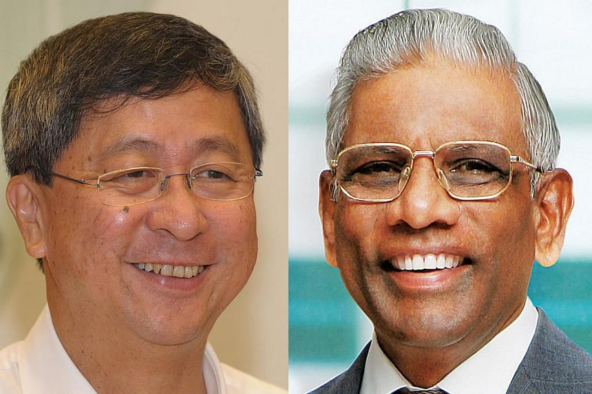 Mr Lim Boon Heng (left), will take over as Temasek Holdings Chairman from Mr S Dhanabalan (right) from Aug 1. -- PHOTOS: DESMOND WEE, TEMASEK HOLDINGS