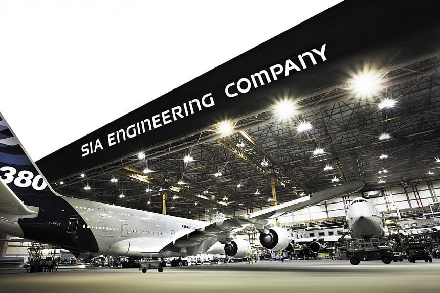 A hangar at Singapore Airlines Engineering Company.Profits at Singapore Airlines' aircraft repair and maintenance arm dipped slightly to $69 million for the April-June quarter, compared with a year ago. -- FILE PHOTO: SIA ENGINEERING COMPANY
