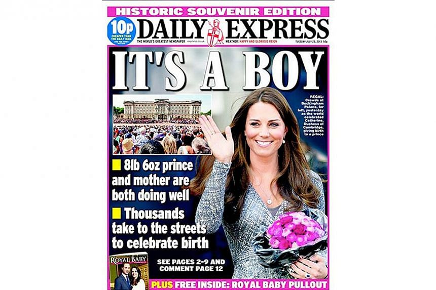 British newspaper Daily Express, announced the arrival of a baby boy for Prince William and Kate, Duchess of Cambridge, on its front page. -- PHOTO: DAILY EXPRESS