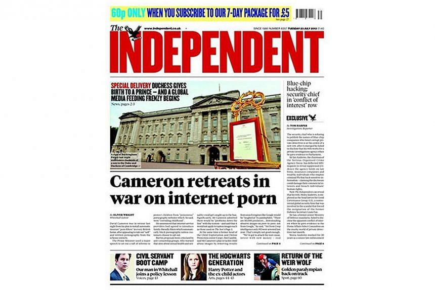British newspaper The Independent, announced the arrival of a baby boy for Prince William and Kate, Duchess of Cambridge, on its front page. -- PHOTO: THE INDEPENDENT