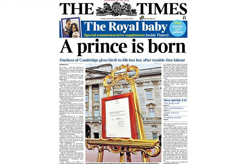 British newspaper The Times, announced the arrival of a baby boy for Prince William and Kate, Duchess of Cambridge, on its front page. -- PHOTO: THE TIMES