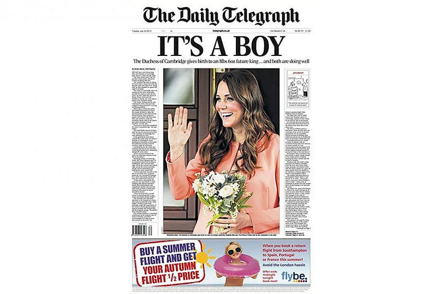 British newspaper The Daily Telegraph, announced the arrival of a baby boy for Prince William and Kate, Duchess of Cambridge, on its front page. -- PHOTO:  THE DAILY TELEGRAPH