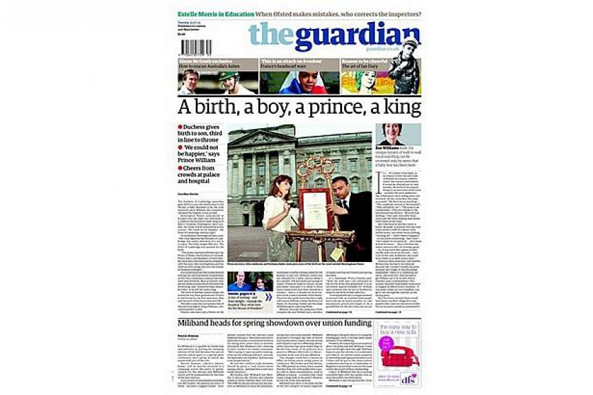 British newspaper The Guardian, announced the arrival of a baby boy for Prince William and Kate, Duchess of Cambridge, on its front page. -- PHOTO: THE GUARDIAN
