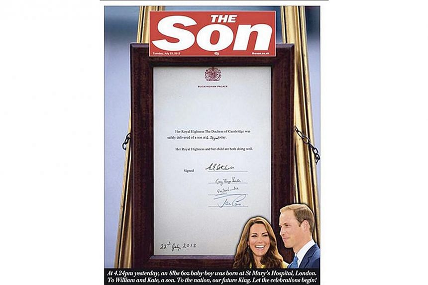 British newspaper The Sun on Tuesday changed its name to The Son to honour the arrival of a baby boy for Prince William and his wife Kate. -- PHOTO: THE SUN