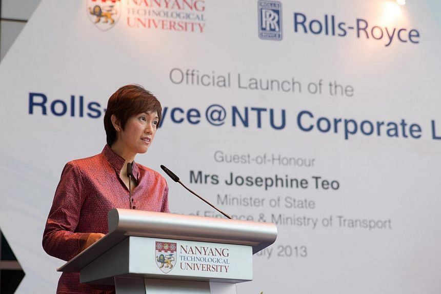 Minister of State Mrs Josephine Teo gives her speech at the launch of the Rolls-Royce@NTU Corporate Lab. -- PHOTO: NTU