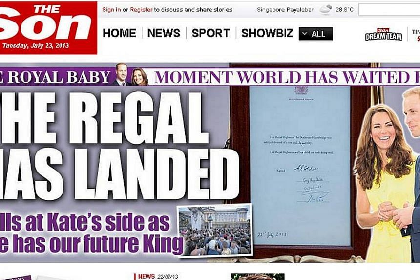 British newspaper The Sun on Tuesday changed its name to The Son to honour the arrival of a baby boy for Prince William and his wife Kate. -- PHOTO: SCREENGRAB FROM THESUN.CO.UK