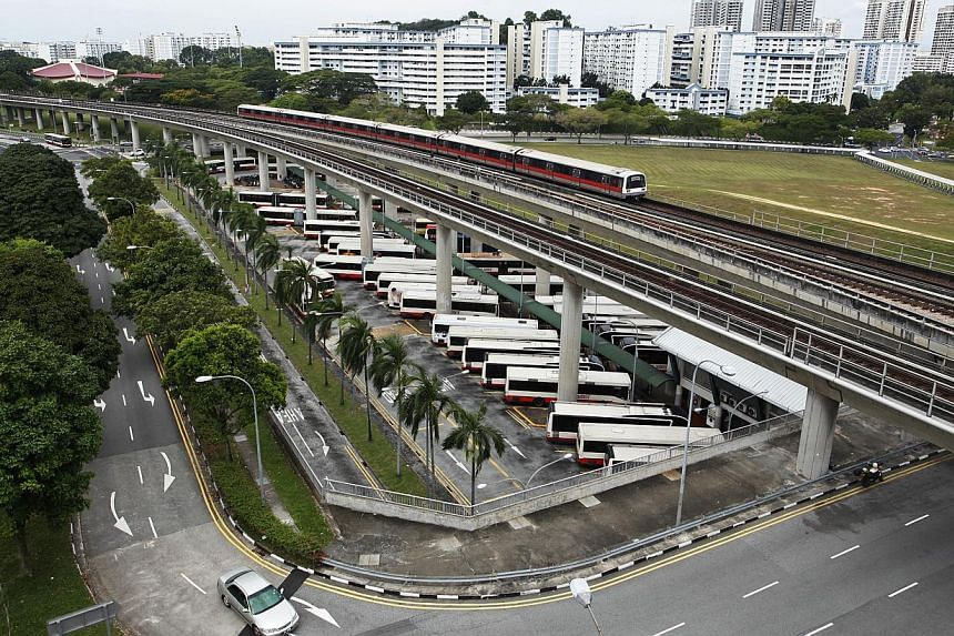 A pneumatic glitch caused an MRT train to stall at the Woodlands station on Wednesday morning, triggering a delay that affected rush-hour commuters in various parts of the network. -- ST FILE PHOTO: DESMOND LUI
